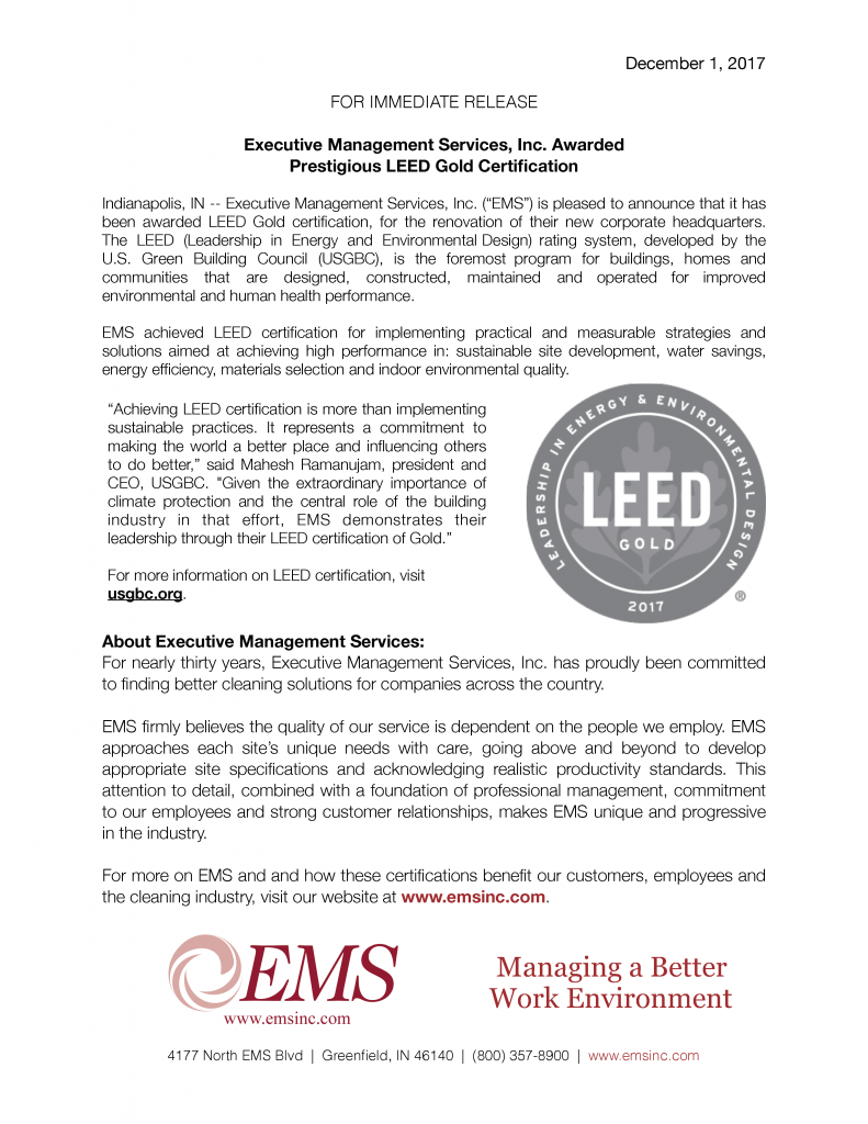 2017 LEED Gold Certification Press Release